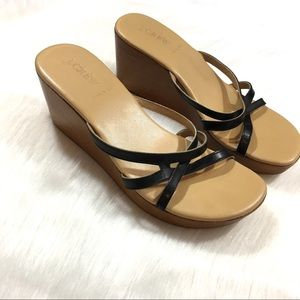J. Crew Made in Italy Wooden Wedge Sandals Size 8